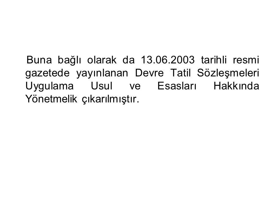 Buna bağlı olarak da 13.06.2003 tarihli resmi gazetede yayınlanan Devre Tatil Sözleşmeleri Uygulama Usul ve Esasları Hakkında Yönetmelik çıkarılmıştır