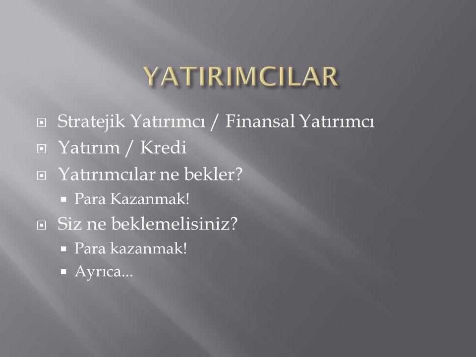  Stratejik Yatırımcı / Finansal Yatırımcı  Yatırım / Kredi  Yatırımcılar ne bekler.