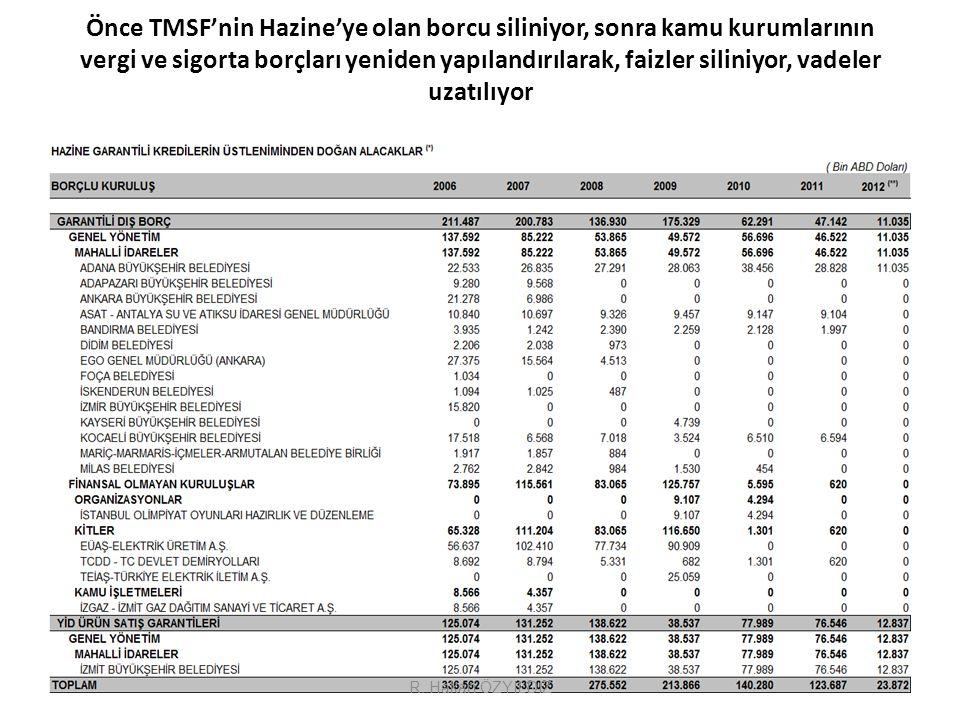 Önce TMSF'nin Hazine'ye olan borcu siliniyor, sonra kamu kurumlarının vergi ve sigorta borçları yeniden yapılandırılarak, faizler siliniyor, vadeler uzatılıyor 33R.