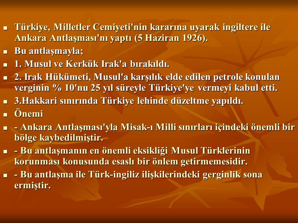 Türkiye, Milletler Cemiyeti'nin kararına uyarak ingiltere ile Ankara Antlaşması'nı yaptı (5 Haziran 1926). Türkiye, Milletler Cemiyeti'nin kararına u