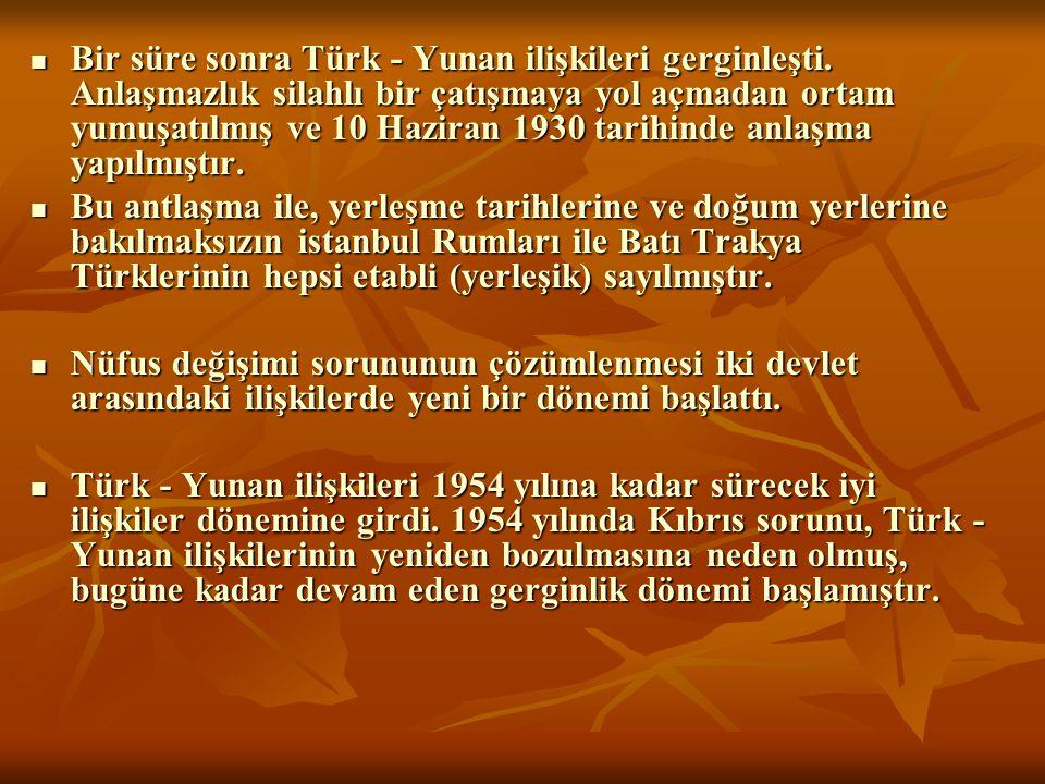Bir süre sonra Türk - Yunan ilişkileri gerginleşti. Anlaşmazlık silahlı bir çatışmaya yol açmadan ortam yumuşatılmış ve 10 Haziran 1930 tarihinde anla