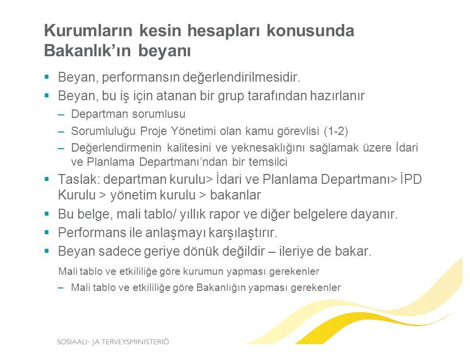 Kurumların kesin hesapları konusunda Bakanlık'ın beyanı  Beyan, performansın değerlendirilmesidir.
