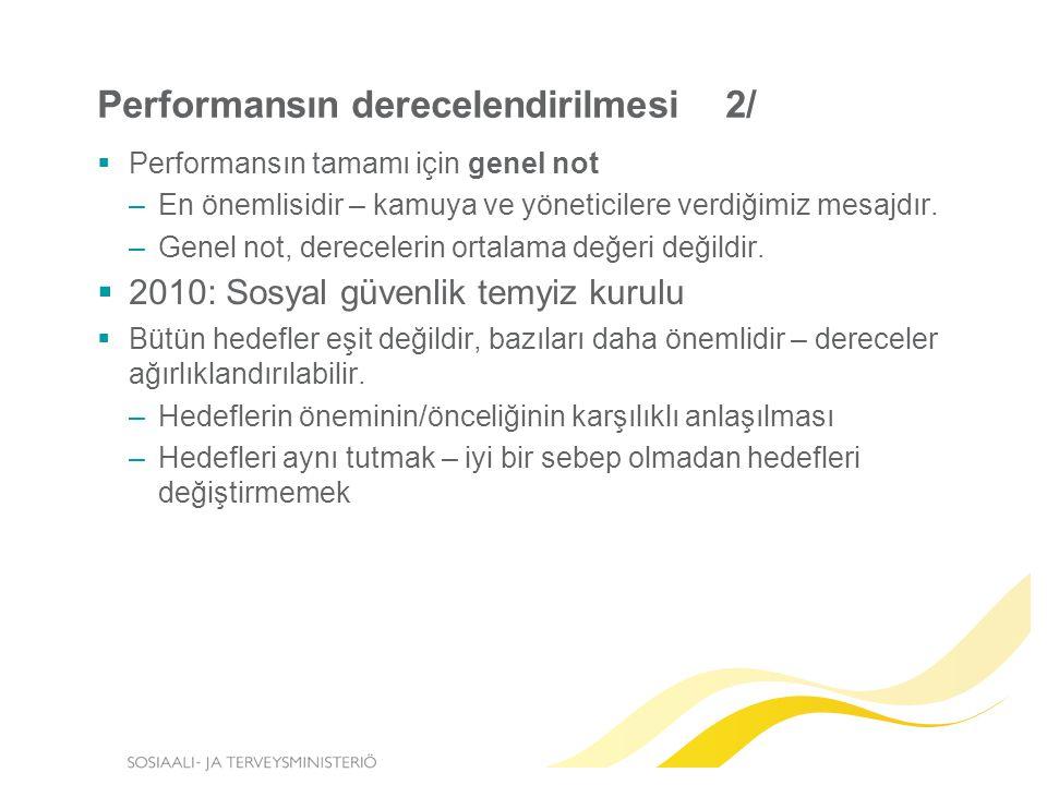Performansın derecelendirilmesi 2/  Performansın tamamı için genel not –En önemlisidir – kamuya ve yöneticilere verdiğimiz mesajdır.