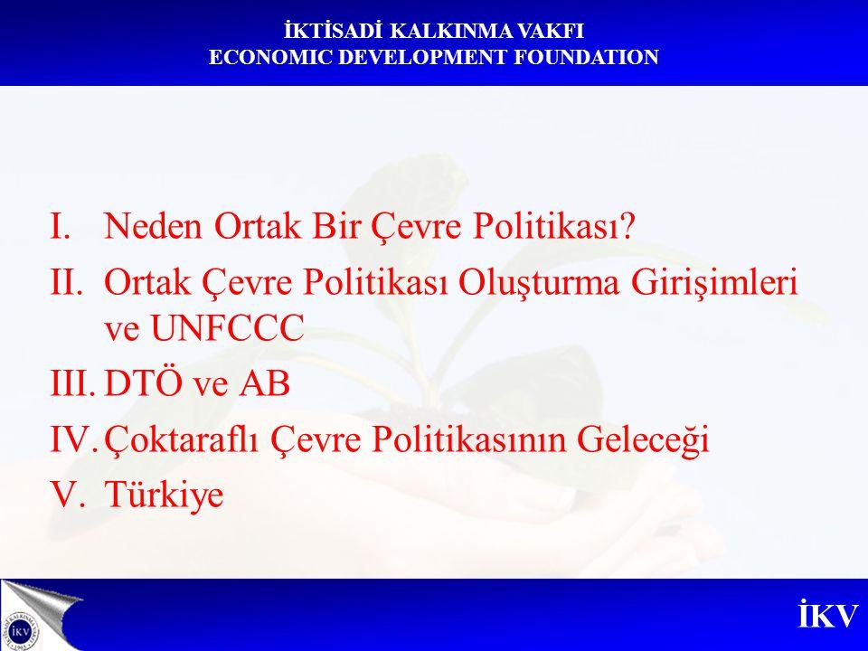 İKV İKTİSADİ KALKINMA VAKFI ECONOMIC DEVELOPMENT FOUNDATION I.Neden Ortak Bir Çevre Politikası? II.Ortak Çevre Politikası Oluşturma Girişimleri ve UNF