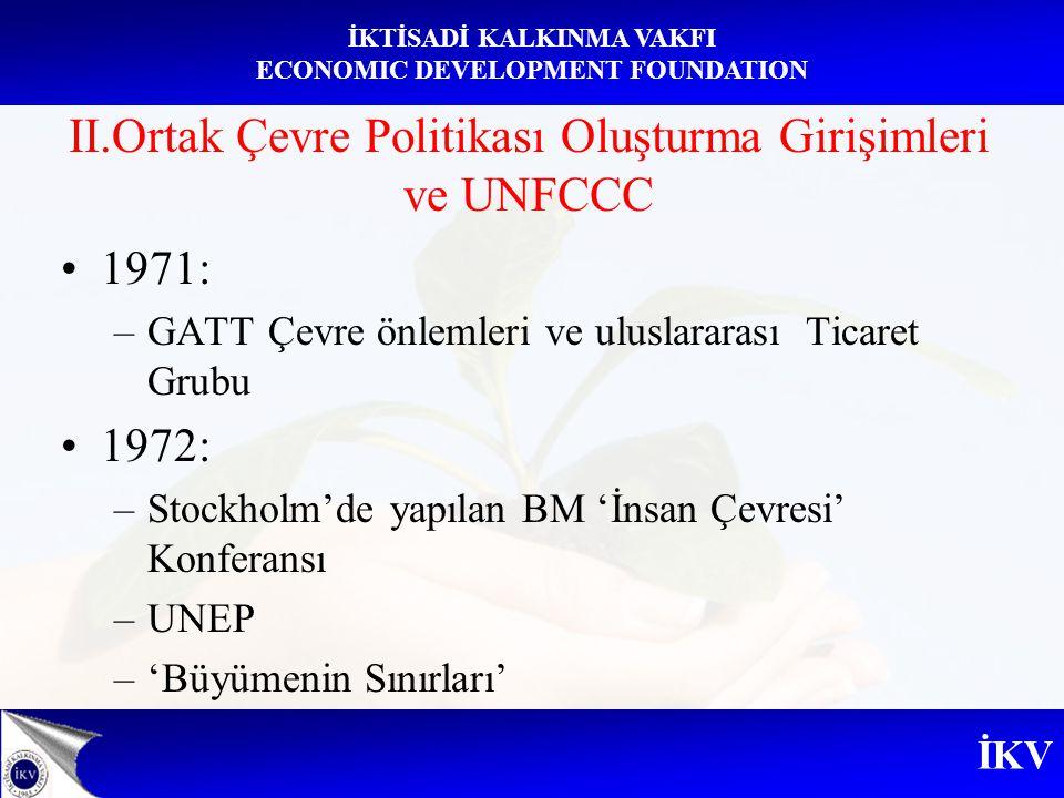 İKV İKTİSADİ KALKINMA VAKFI ECONOMIC DEVELOPMENT FOUNDATION II.Ortak Çevre Politikası Oluşturma Girişimleri ve UNFCCC 1971: –GATT Çevre önlemleri ve u