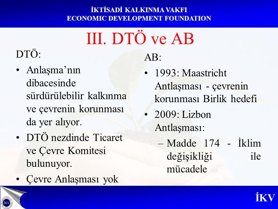 İKV İKTİSADİ KALKINMA VAKFI ECONOMIC DEVELOPMENT FOUNDATION III. DTÖ ve AB DTÖ: Anlaşma'nın dibacesinde sürdürülebilir kalkınma ve çevrenin korunması