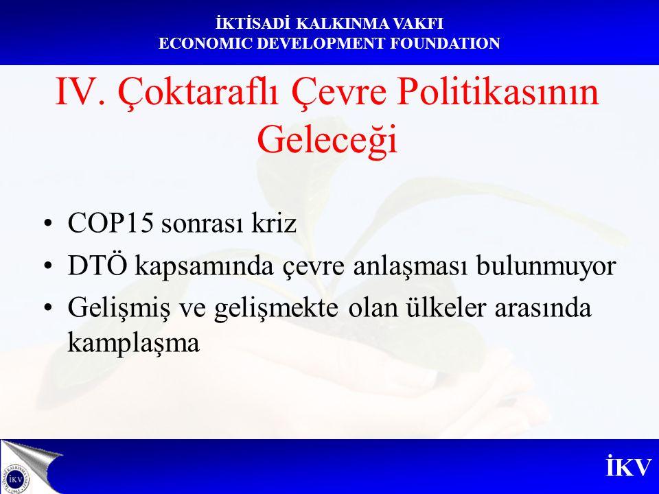İKV İKTİSADİ KALKINMA VAKFI ECONOMIC DEVELOPMENT FOUNDATION IV. Çoktaraflı Çevre Politikasının Geleceği COP15 sonrası kriz DTÖ kapsamında çevre anlaşm