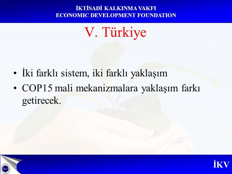 İKV İKTİSADİ KALKINMA VAKFI ECONOMIC DEVELOPMENT FOUNDATION V. Türkiye İki farklı sistem, iki farklı yaklaşım COP15 mali mekanizmalara yaklaşım farkı