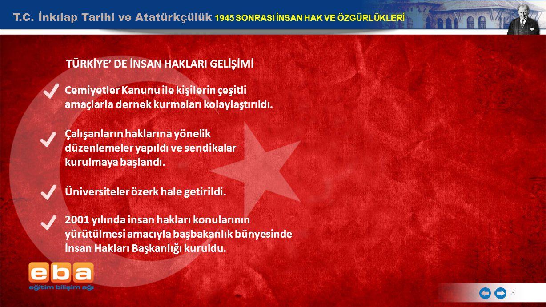T.C.İnkılap Tarihi ve Atatürkçülük 1945 SONRASI İNSAN HAK VE ÖZGÜRLÜKLERİ 9 SONUÇ II.