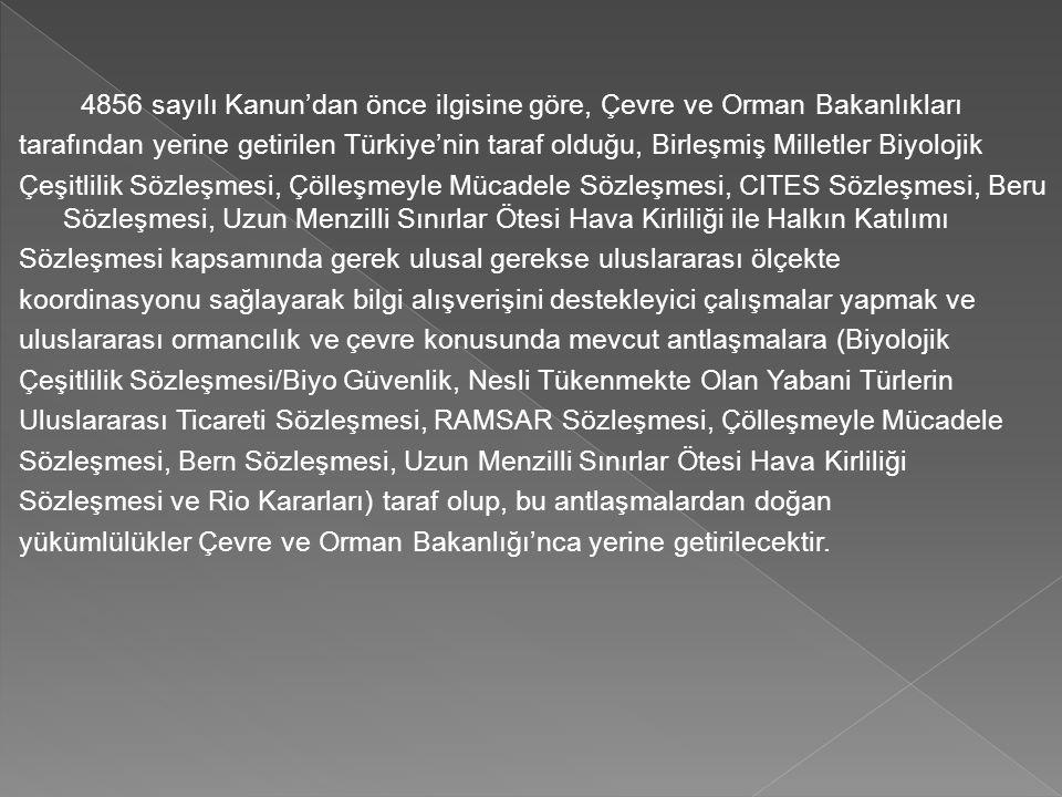 4856 sayılı Kanun'dan önce ilgisine göre, Çevre ve Orman Bakanlıkları tarafından yerine getirilen Türkiye'nin taraf olduğu, Birleşmiş Milletler Biyolo