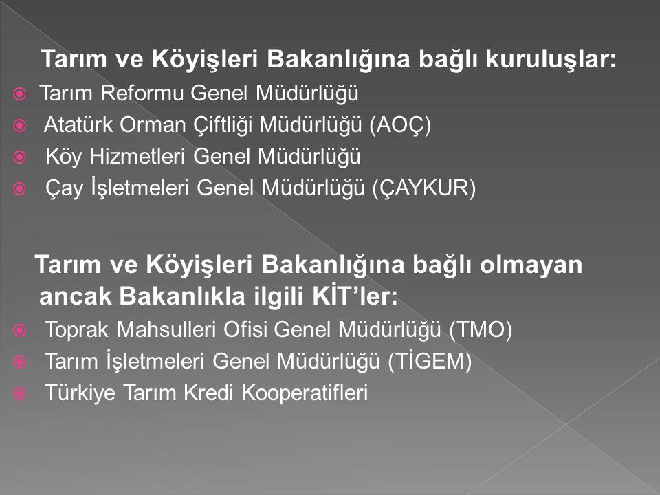 Tarım ve Köyişleri Bakanlığına bağlı kuruluşlar:  Tarım Reformu Genel Müdürlüğü  Atatürk Orman Çiftliği Müdürlüğü (AOÇ)  Köy Hizmetleri Genel Müdür