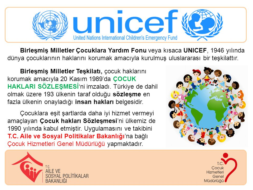 Birleşmiş Milletler Çocuklara Yardım Fonu veya kısaca UNICEF, 1946 yılında dünya çocuklarının haklarını korumak amacıyla kurulmuş uluslararası bir teş