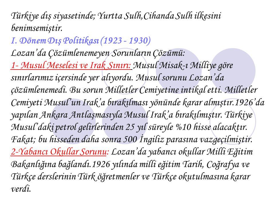 Türkiye dış siyasetinde; Yurtta Sulh,Cihanda Sulh ilkesini benimsemiştir.