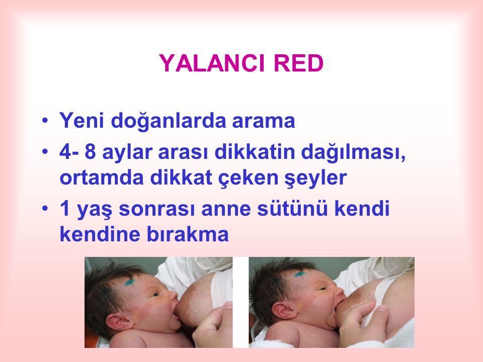 YALANCI RED Yeni doğanlarda arama 4- 8 aylar arası dikkatin dağılması, ortamda dikkat çeken şeyler 1 yaş sonrası anne sütünü kendi kendine bırakma