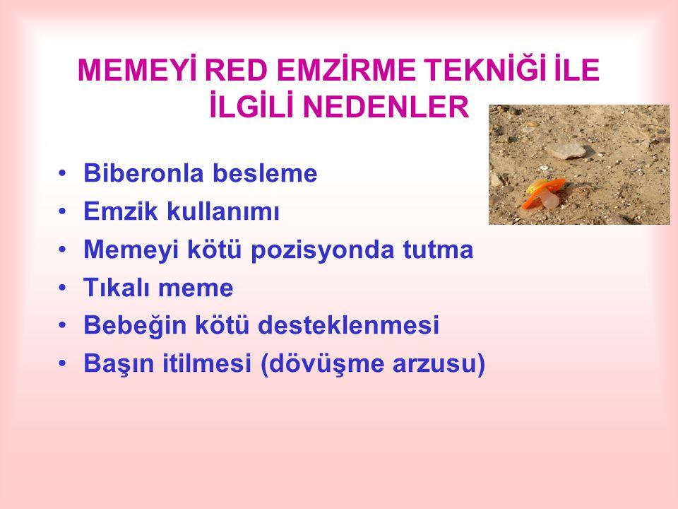 MEMEYİ RED EMZİRME TEKNİĞİ İLE İLGİLİ NEDENLER Biberonla besleme Emzik kullanımı Memeyi kötü pozisyonda tutma Tıkalı meme Bebeğin kötü desteklenmesi B