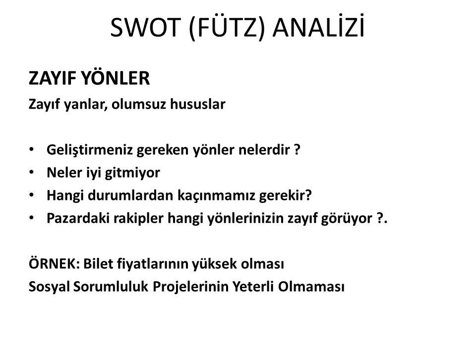 SWOT (FÜTZ) ANALİZİ FIRSATLAR Güçlü yanları destekleyen dış çevredeki koşullar (fırsatlar).