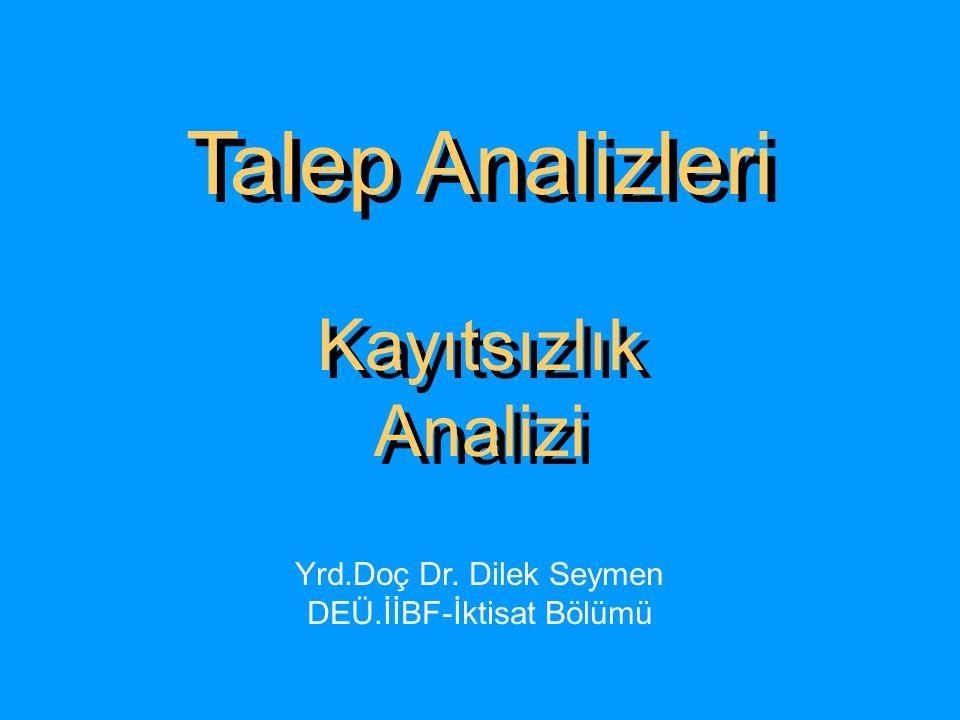Talep Analizleri Kayıtsızlık Analizi Talep Analizleri Kayıtsızlık Analizi Yrd.Doç Dr. Dilek Seymen DEÜ.İİBF-İktisat Bölümü