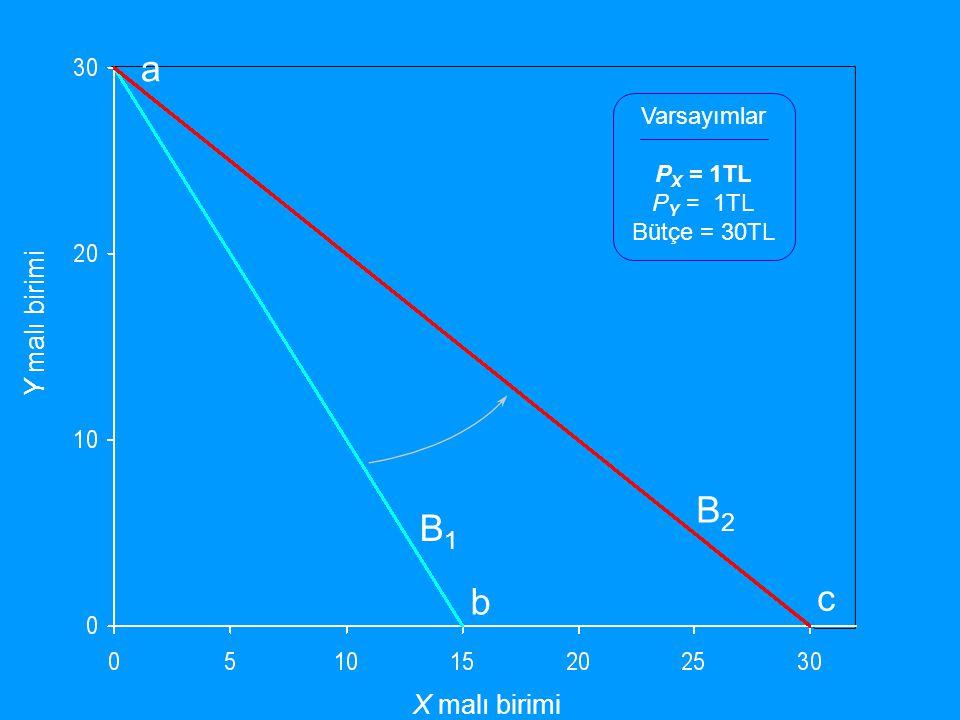 Y malı birimi X malı birimi Varsayımlar P X = 1TL P Y = 1TL Bütçe = 30TL B1B1 B2B2 a b c
