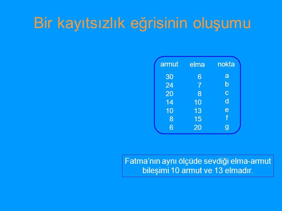 Y malı birimi X malı birimi I1I1 I2I2 I3I3 Kayıtsızlık paftası