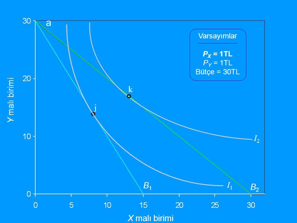 Y malı birimi X malı birimi Varsayımlar P X = 1TL P Y = 1TL Bütçe = 30TL B1B1 I1I1 j I2I2 B2B2 k a