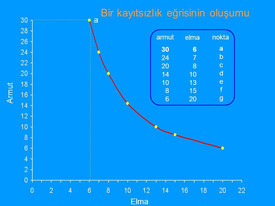 Y malı birimi X malı birimi I1I1 I2I2 I3I3 I4I4 Kayıtsızlık paftası