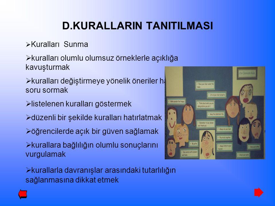 D.KURALLARIN TANITILMASI  Kuralları Sunma  kuralları olumlu olumsuz örneklerle açıklığa kavuşturmak  kuralları değiştirmeye yönelik öneriler hakkın