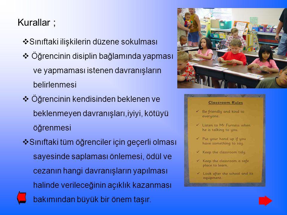 Kurallar ;  Sınıftaki ilişkilerin düzene sokulması  Öğrencinin disiplin bağlamında yapması ve yapmaması istenen davranışların belirlenmesi  Öğrenci