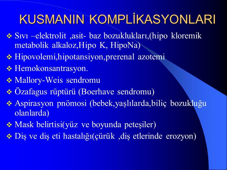 KUSMANIN KOMPLİKASYONLARI  Sıvı –elektrolit,asit- baz bozuklukları,(hipo kloremik metabolik alkaloz,Hipo K, HipoNa)  Hipovolemi,hipotansiyon,prerena