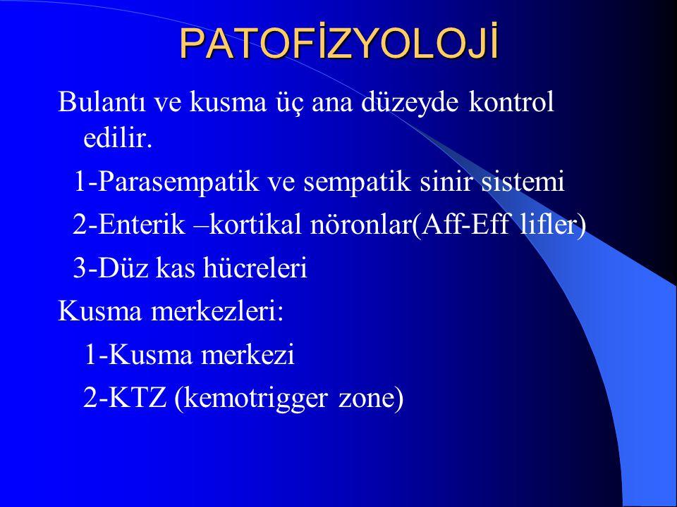 PATOFİZYOLOJİ Bulantı ve kusma üç ana düzeyde kontrol edilir. 1-Parasempatik ve sempatik sinir sistemi 2-Enterik –kortikal nöronlar(Aff-Eff lifler) 3-