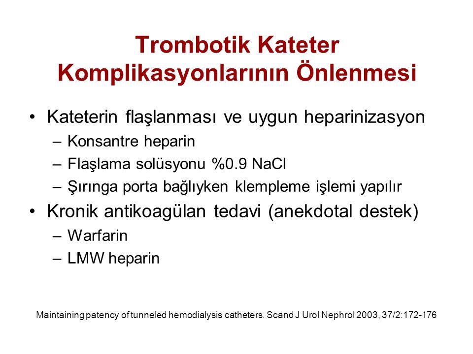 Trombotik Kateter Komplikasyonlarının Önlenmesi Kateterin flaşlanması ve uygun heparinizasyon –Konsantre heparin –Flaşlama solüsyonu %0.9 NaCl –Şırıng