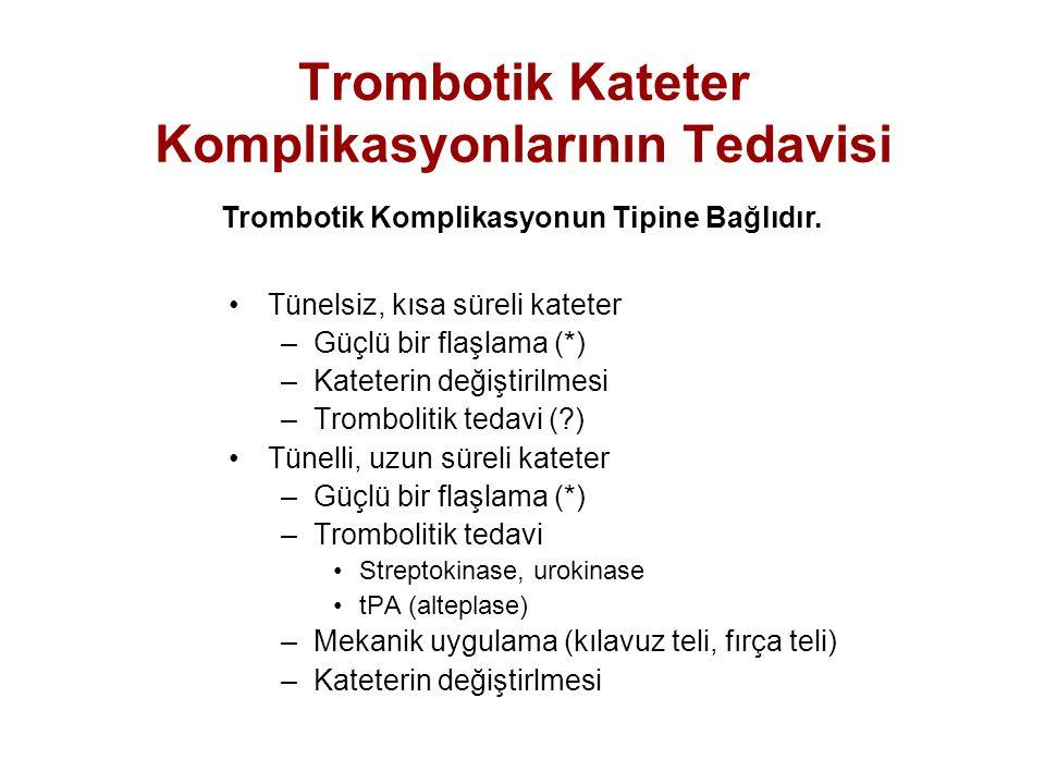 Trombotik Kateter Komplikasyonlarının Tedavisi Tünelsiz, kısa süreli kateter –Güçlü bir flaşlama (*) –Kateterin değiştirilmesi –Trombolitik tedavi (?)