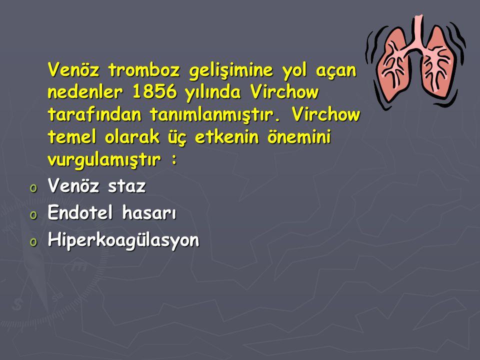 Venöz tromboz gelişimine yol açan nedenler 1856 yılında Virchow tarafından tanımlanmıştır. Virchow temel olarak üç etkenin önemini vurgulamıştır : o V