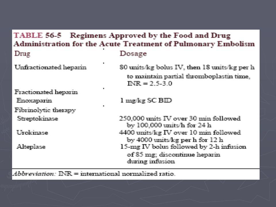 ► Tedavi seçenekleri için risk belirleme önemli ► Klinik değişken:  Küçük periferal emboli (plöretik ağrı)  Masif PE (kardiyojenik şok veya kardiyak arest) ► Mortaliteyi artıran durumlar:  Yaş > 70  Kanser  KKY  KOAH  Sistolik kan basıncı < 90 mmHg  Artmış kardiyak belirteçler (troponin) Pulmoner Emboli –Tedavi