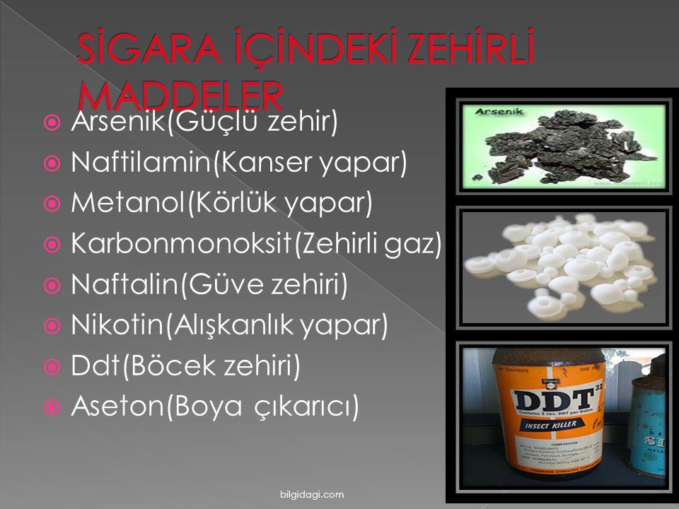  Arsenik(Güçlü zehir)  Naftilamin(Kanser yapar)  Metanol(Körlük yapar)  Karbonmonoksit(Zehirli gaz)  Naftalin(Güve zehiri)  Nikotin(Alışkanlık yapar)  Ddt(Böcek zehiri)  Aseton(Boya çıkarıcı) bilgidagi.com