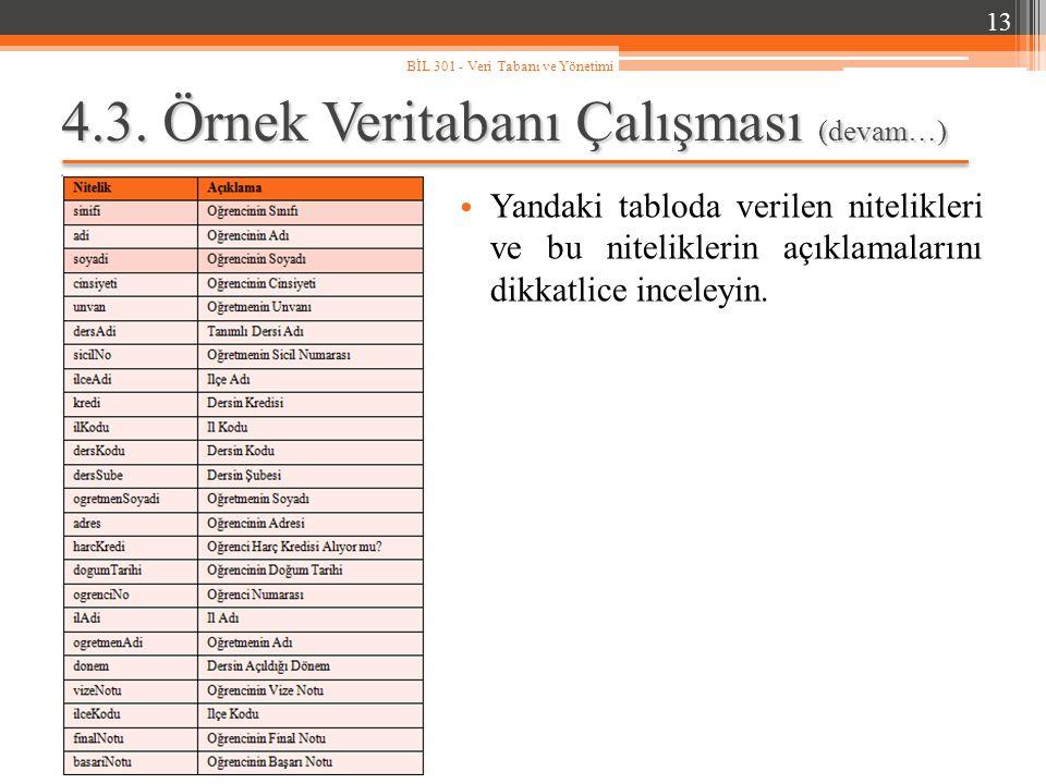 4.3. Örnek Veritabanı Çalışması (devam…) 13 BİL 301 - Veri Tabanı ve Yönetimi Yandaki tabloda verilen nitelikleri ve bu niteliklerin açıklamalarını di