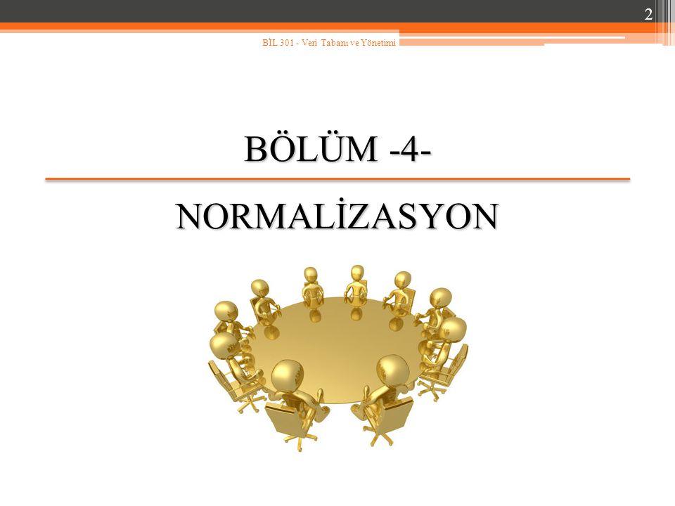 BÖLÜM -4- NORMALİZASYON 2 BİL 301 - Veri Tabanı ve Yönetimi