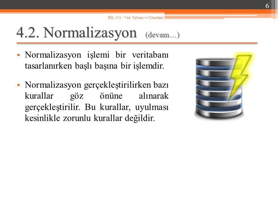 4.2. Normalizasyon (devam…) Normalizasyon işlemi bir veritabanı tasarlanırken başlı başına bir işlemdir. Normalizasyon gerçekleştirilirken bazı kurall