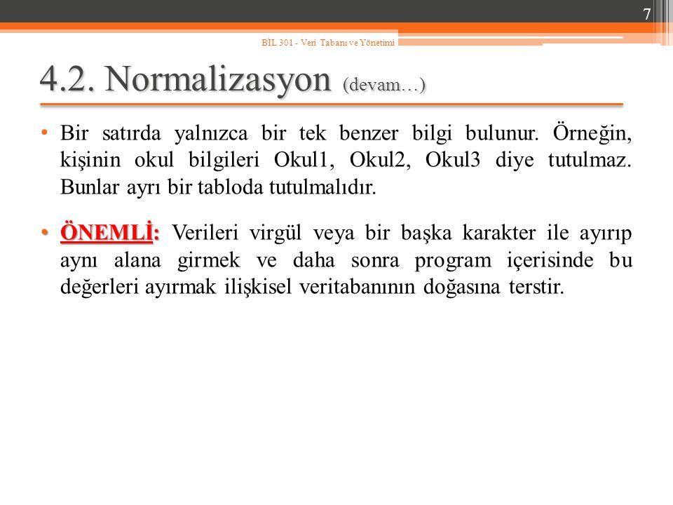4.2. Normalizasyon (devam…) Bir satırda yalnızca bir tek benzer bilgi bulunur. Örneğin, kişinin okul bilgileri Okul1, Okul2, Okul3 diye tutulmaz. Bunl