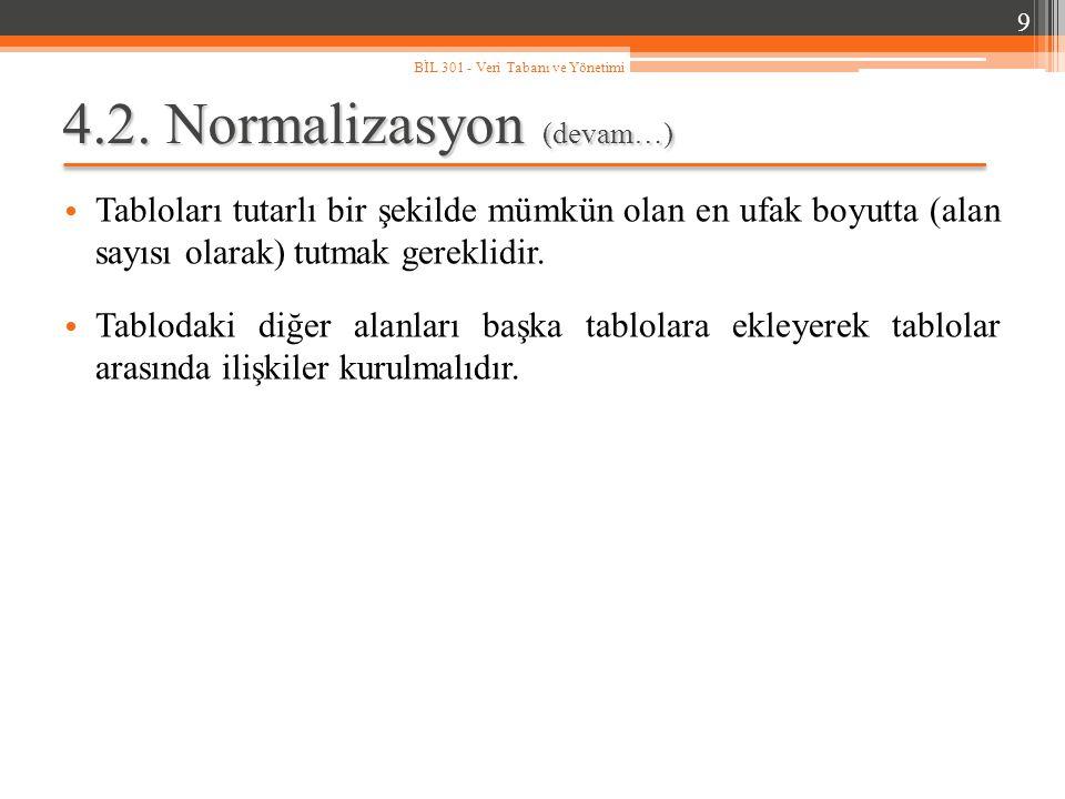 4.2. Normalizasyon (devam…) Tabloları tutarlı bir şekilde mümkün olan en ufak boyutta (alan sayısı olarak) tutmak gereklidir. Tablodaki diğer alanları