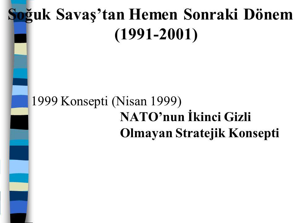1999 Konsepti (Nisan 1999) NATO'nun İkinci Gizli Olmayan Stratejik Konsepti Soğuk Savaş'tan Hemen Sonraki Dönem (1991-2001)