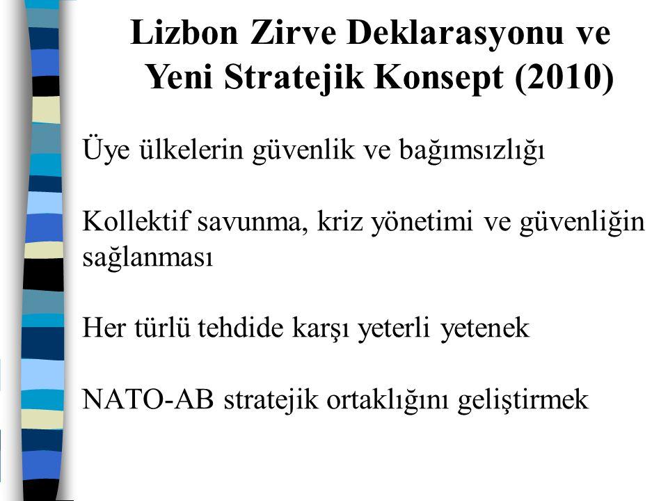 Üye ülkelerin güvenlik ve bağımsızlığı Kollektif savunma, kriz yönetimi ve güvenliğin sağlanması Her türlü tehdide karşı yeterli yetenek NATO-AB strat