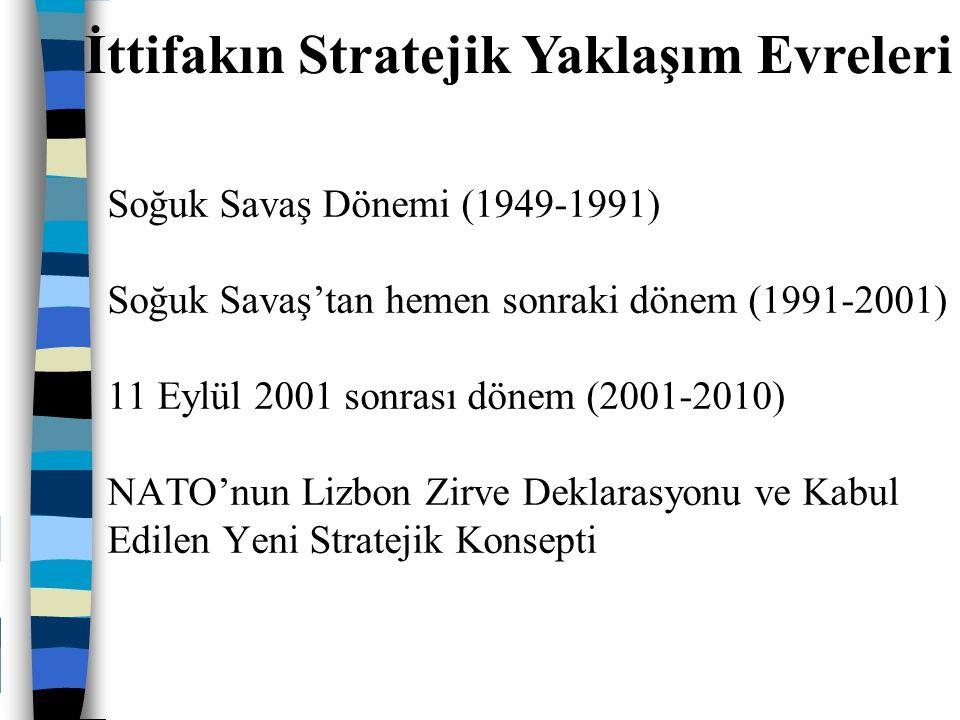 Soğuk Savaş Dönemi (1949-1991) Soğuk Savaş'tan hemen sonraki dönem (1991-2001) 11 Eylül 2001 sonrası dönem (2001-2010) NATO'nun Lizbon Zirve Deklarasy