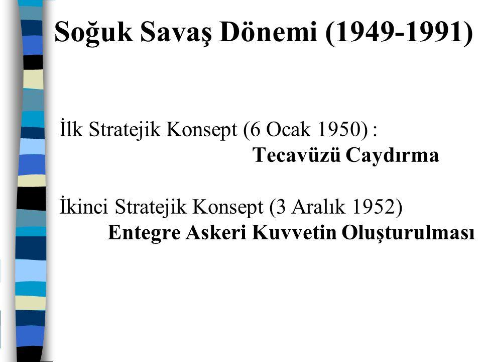 Üçüncü Stratejik Konsept (23 Mayıs 1957) : Topyekun Mukabele Dördüncü Stratejik Konsept (16 Ocak 1968) Esnek Mukabele Soğuk Savaş Dönemi (1949-1991)