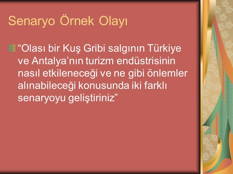 """Senaryo Örnek Olayı """"Olası bir Kuş Gribi salgının Türkiye ve Antalya'nın turizm endüstrisinin nasıl etkileneceği ve ne gibi önlemler alınabileceği kon"""