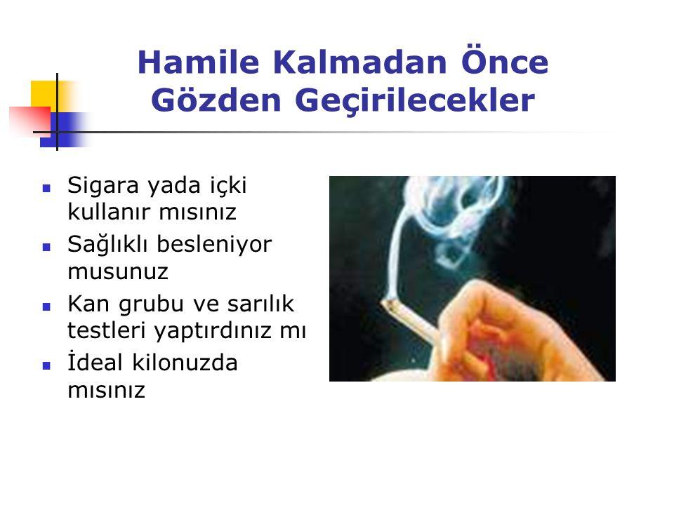 Hamile Kalmadan Önce Gözden Geçirilecekler Sigara yada içki kullanır mısınız Sağlıklı besleniyor musunuz Kan grubu ve sarılık testleri yaptırdınız mı İdeal kilonuzda mısınız