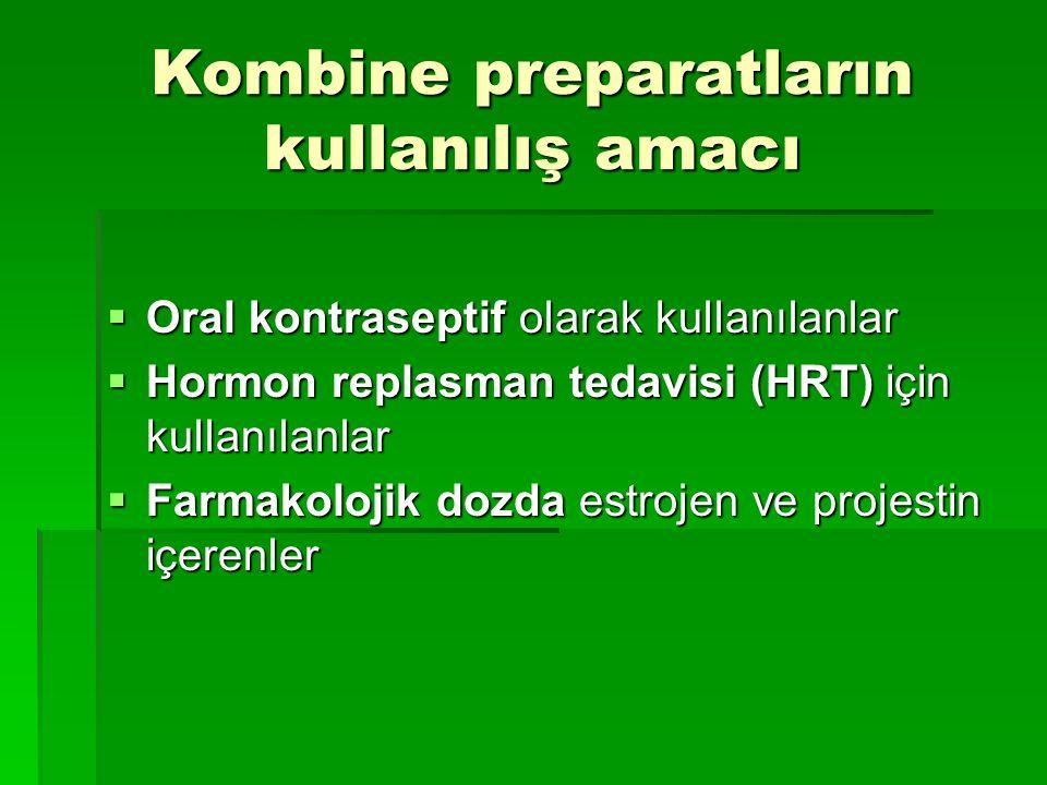Kombine preparatların kullanılış amacı  Oral kontraseptif olarak kullanılanlar  Hormon replasman tedavisi (HRT) için kullanılanlar  Farmakolojik do