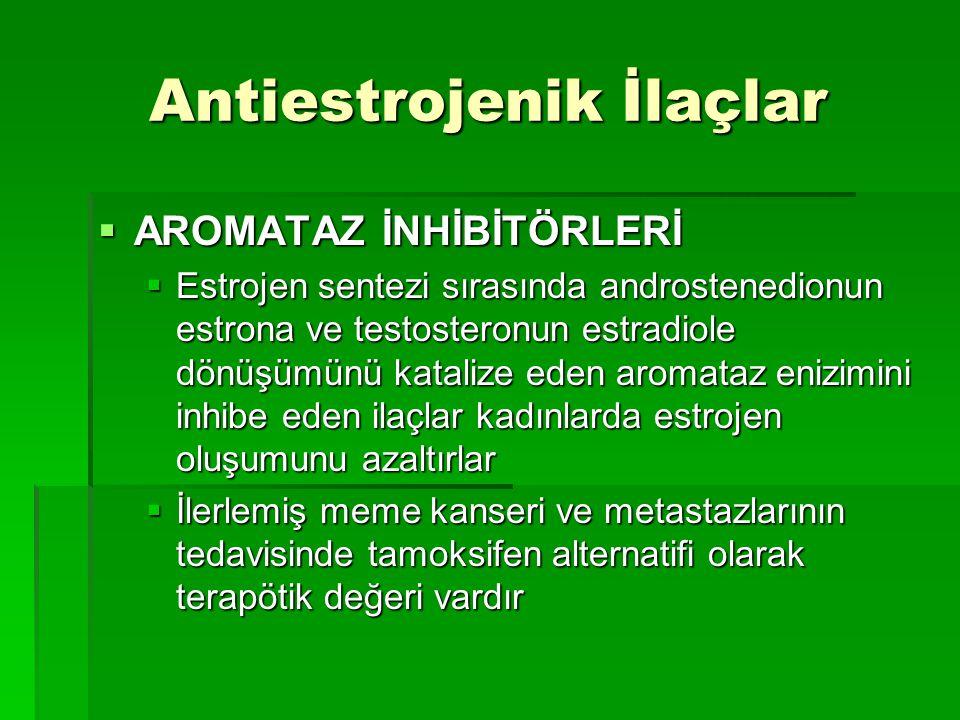 Antiestrojenik İlaçlar  AROMATAZ İNHİBİTÖRLERİ  Estrojen sentezi sırasında androstenedionun estrona ve testosteronun estradiole dönüşümünü katalize
