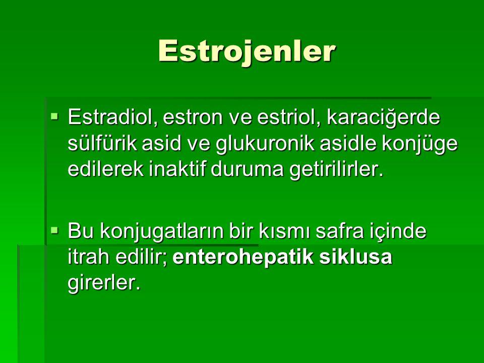 Estrojenler  Estradiol, estron ve estriol, karaciğerde sülfürik asid ve glukuronik asidle konjüge edilerek inaktif duruma getirilirler.  Bu konjugat