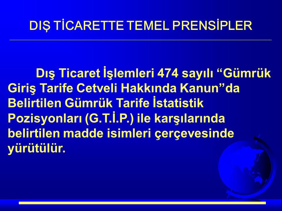 """Dış Ticaret İşlemleri 474 sayılı """"Gümrük Giriş Tarife Cetveli Hakkında Kanun""""da Belirtilen Gümrük Tarife İstatistik Pozisyonları (G.T.İ.P.) ile karşıl"""