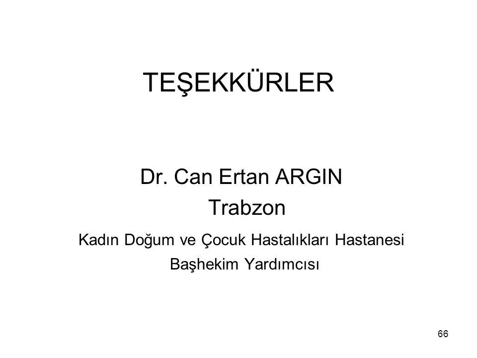 66 TEŞEKKÜRLER Dr. Can Ertan ARGIN Trabzon Kadın Doğum ve Çocuk Hastalıkları Hastanesi Başhekim Yardımcısı